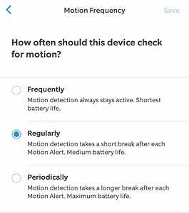 Motion Frequency Setting