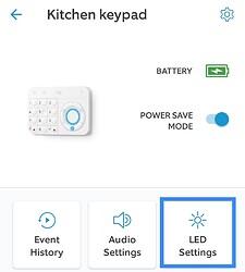 Alarm LED Settings Tile