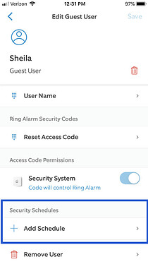 Add Security Schedule