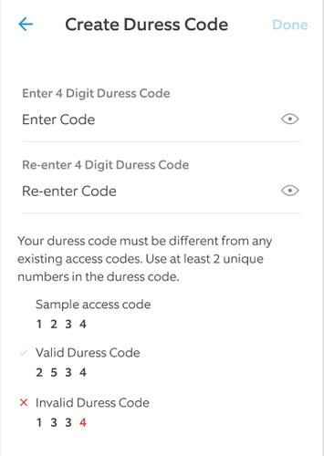 Create Duress Code